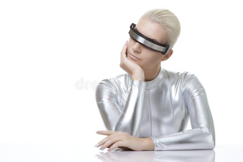 Mooie cybervrouw stock afbeeldingen