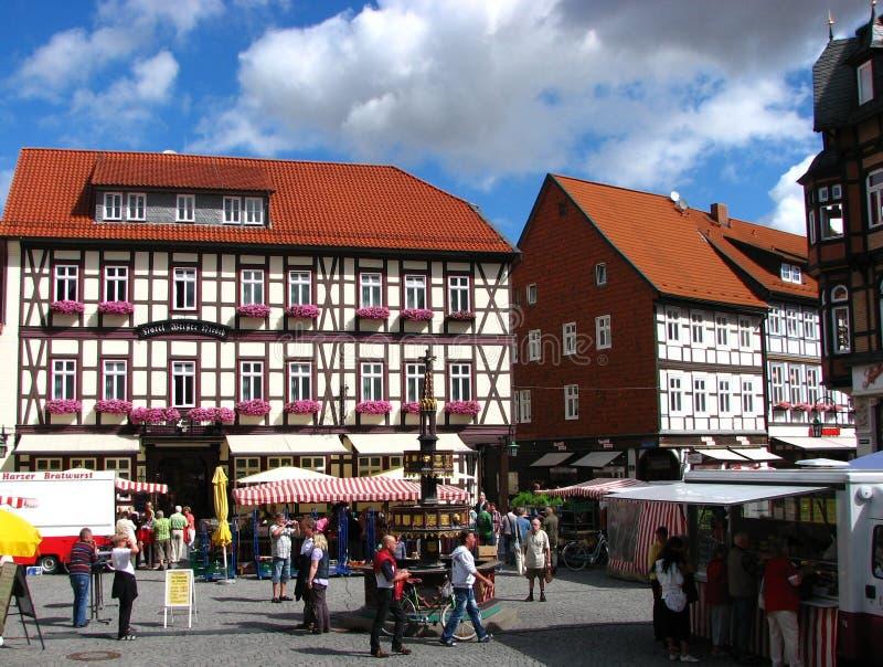 Mooie dag op het Centrum van de Stad Wernigerode, Duitsland stock afbeeldingen