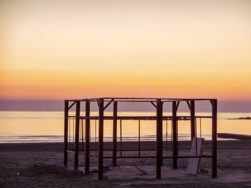 Mooie dageraad op het Adriatische Overzees stock foto's