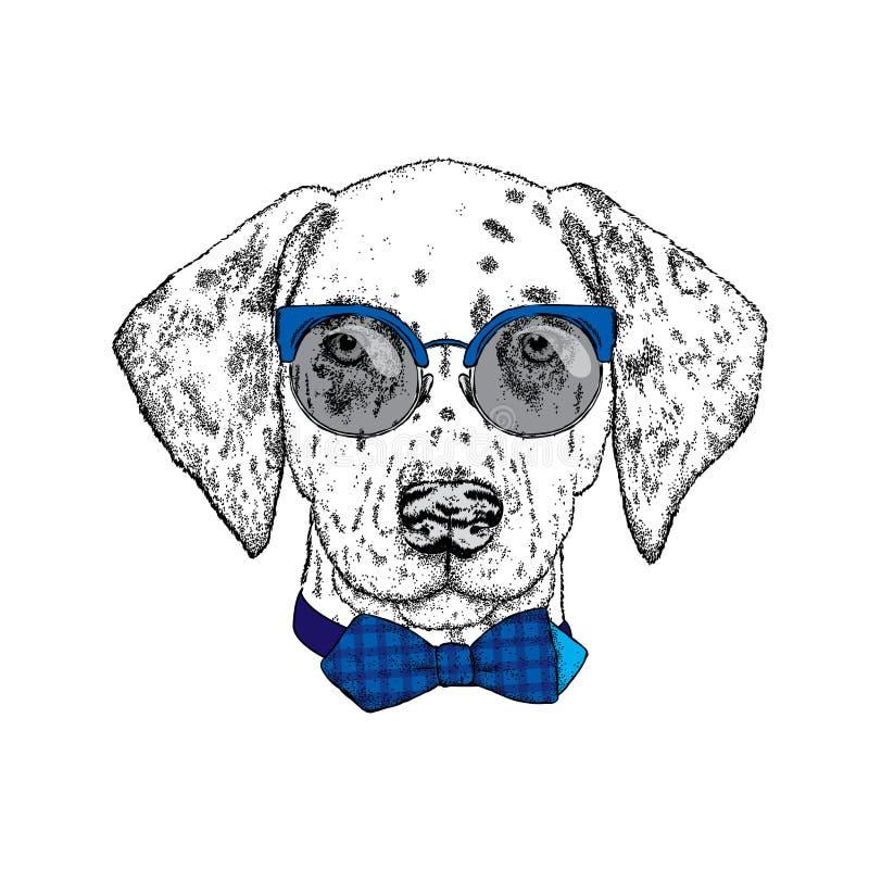 Mooie dalmatian schilderde met de hand Vectorillustratie voor een kaart of affiche, druk op kleren Leuke hond in glazen en band P royalty-vrije illustratie