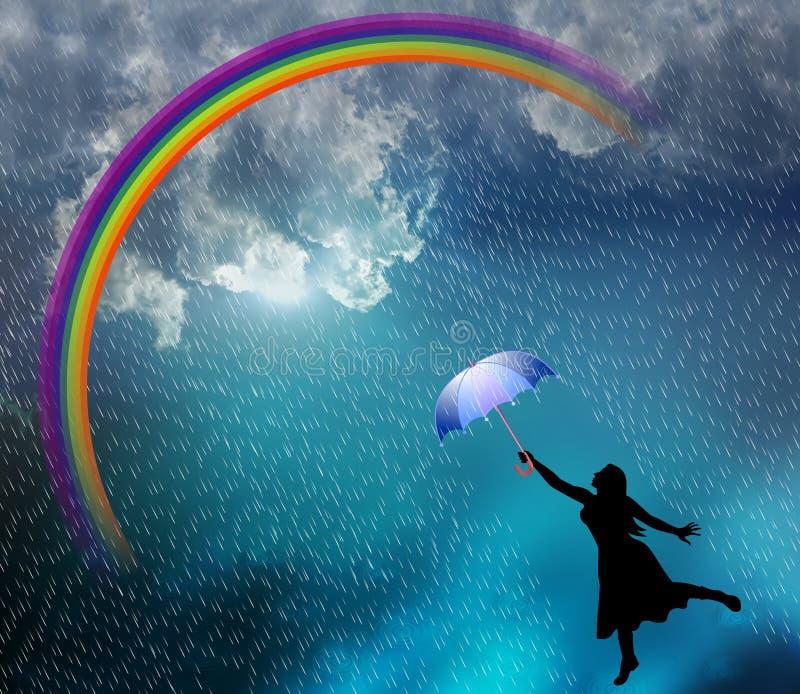 Mooie dame die in de regen genieten van Vectorillustratie, royalty-vrije illustratie