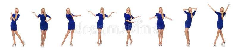 Mooie dame in donkerblauwe kleding die op wit wordt ge?soleerd royalty-vrije stock afbeeldingen