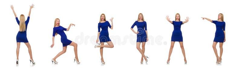 Mooie dame in donkerblauwe kleding die op wit wordt ge?soleerd stock afbeelding