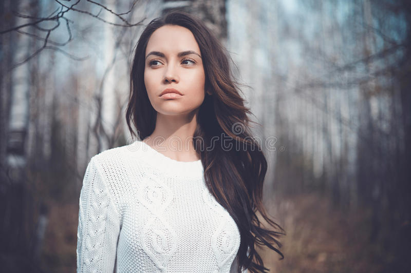 Mooie dame in een berkbos stock foto