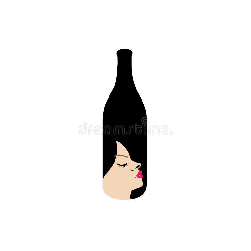Mooie dame in een fles royalty-vrije illustratie
