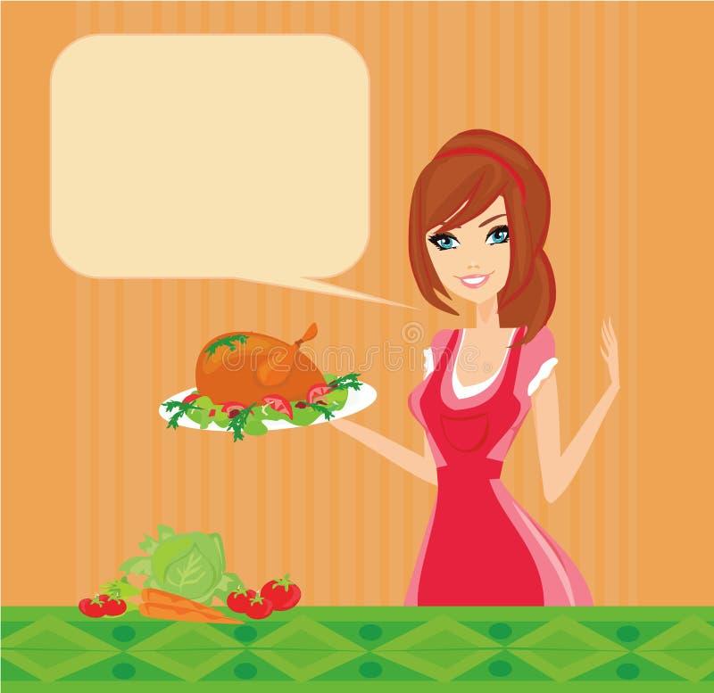 Mooie dame het koken kip royalty-vrije illustratie