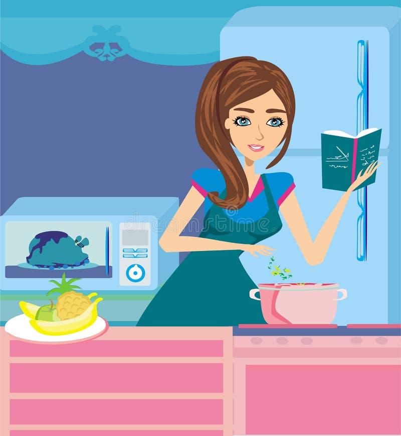 Mooie dame kokende soep en het dienen kip royalty-vrije illustratie