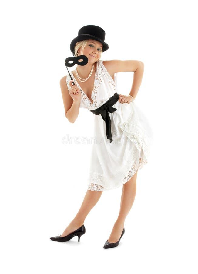 Mooie dame met zwart masker stock foto