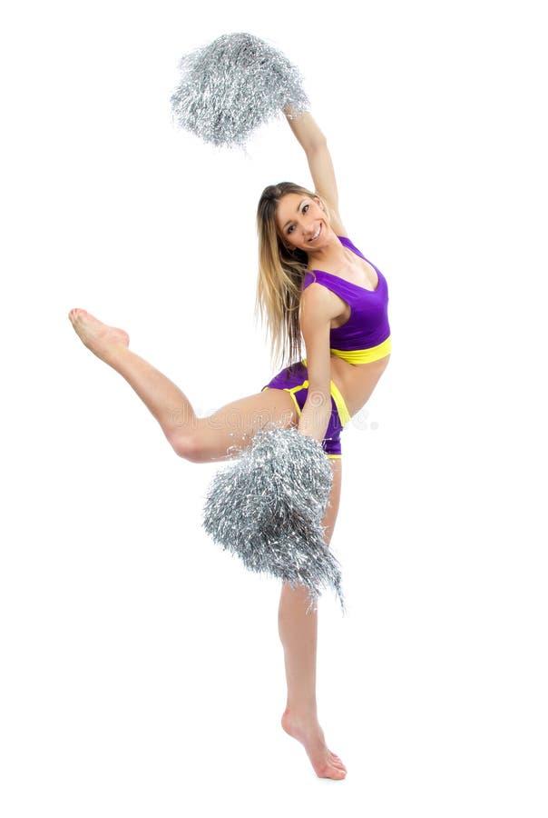 Mooie de dansersmeisjes van de cheerleadervrouw van het cheerleading van team royalty-vrije stock afbeelding