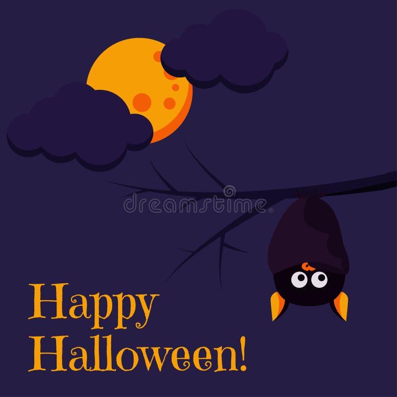 Mooie de groetkaart van Halloween van de beeldverhaalstijl Gelukkige met leuke zwarte knuppel hangende bovenkant - neer op een ta vector illustratie