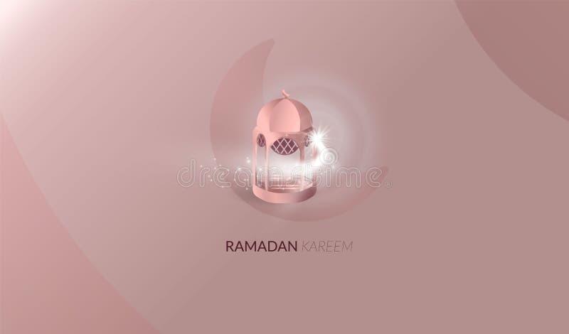 Mooie de groetkaart van Ramadan Kareem Ramadan Kareem-achtergrond met maan, sterren, moskee nam gouden kleur toe royalty-vrije illustratie
