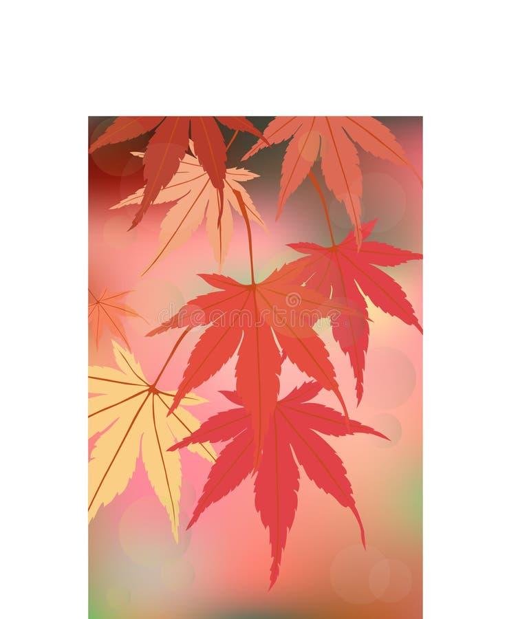 Mooie de herfstbladeren op een magisch achtergrond warm Romaans avond prettig geheugen vector illustratie