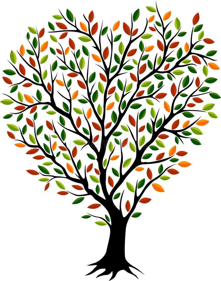 Mooie de herfstboom met bont kroon vector illustratie