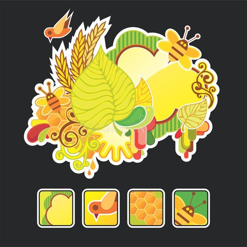 Mooie de herfstsamenstelling en pictogrammen stock illustratie