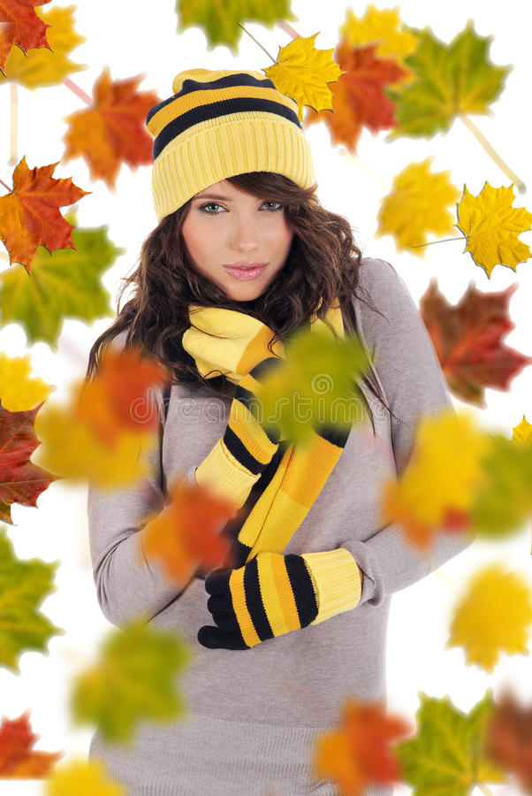 Mooie de herfstvrouw. stock foto