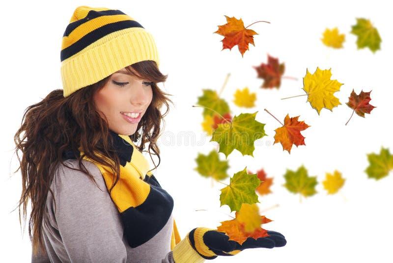 Mooie de herfstvrouw. stock fotografie