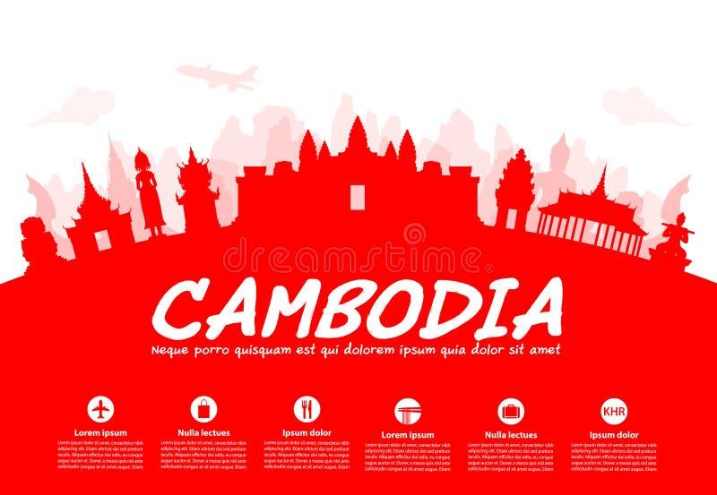 Mooie de Reisoriëntatiepunten van Kambodja stock illustratie