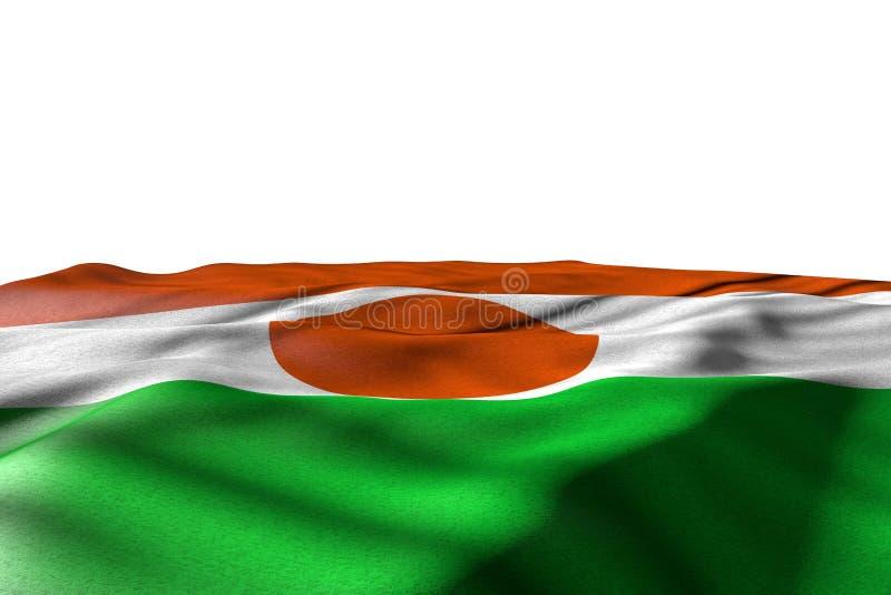 Mooie de vlag 3d illustratie van de arbeidsdag - modelfoto van de vlag die van Niger met perspectiefmening liggen die op wit met  vector illustratie