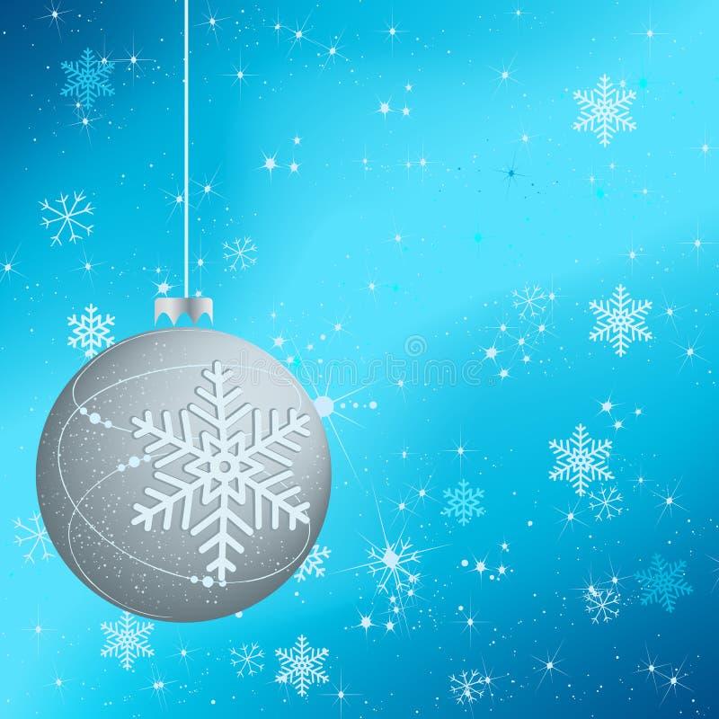 Mooie de winterachtergrond met zilveren bol royalty-vrije illustratie