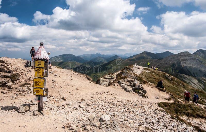 Mooie de zomerdag op Volovec-bergpiek in de bergen van Zapadne Tatry op Slowaaks-poetsmiddelgrenzen royalty-vrije stock afbeelding