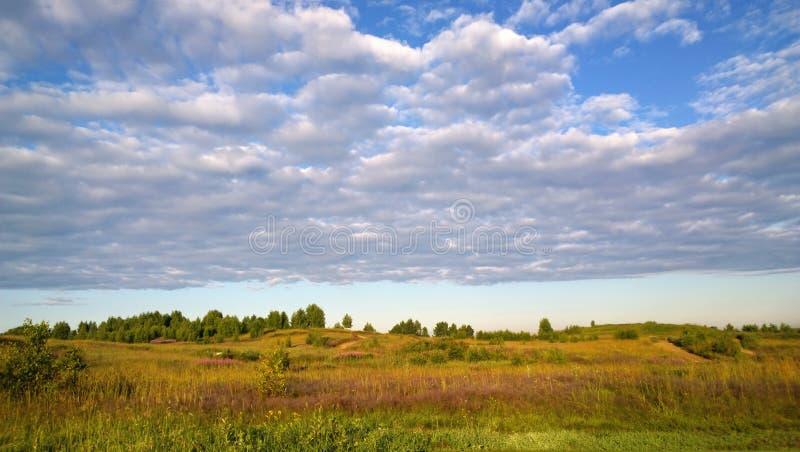 Mooie de zomergebied en wolken in de hemel royalty-vrije stock fotografie