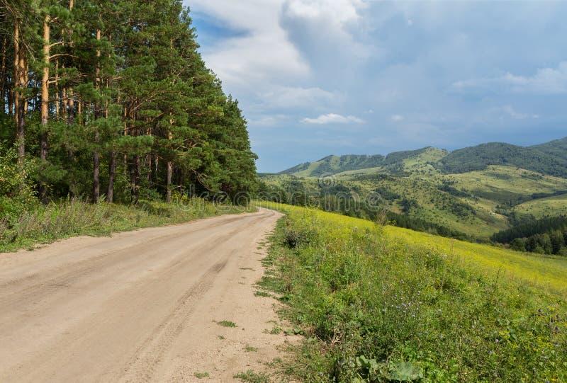 Mooie de zomermening van de weg in Altai-Bergen stock foto
