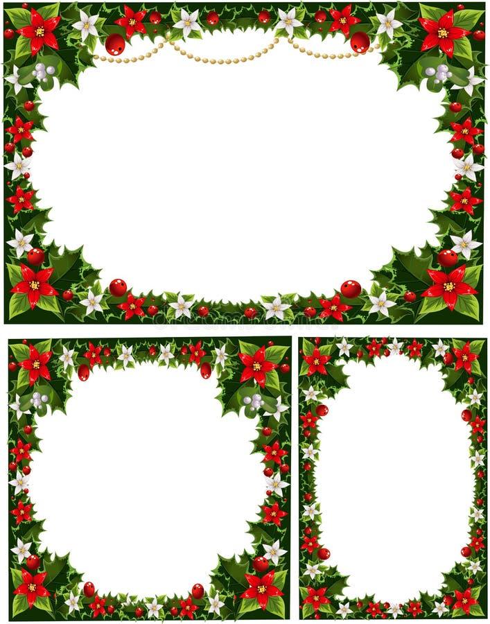 Mooie decoratieve frames, slingers van hulst stock illustratie
