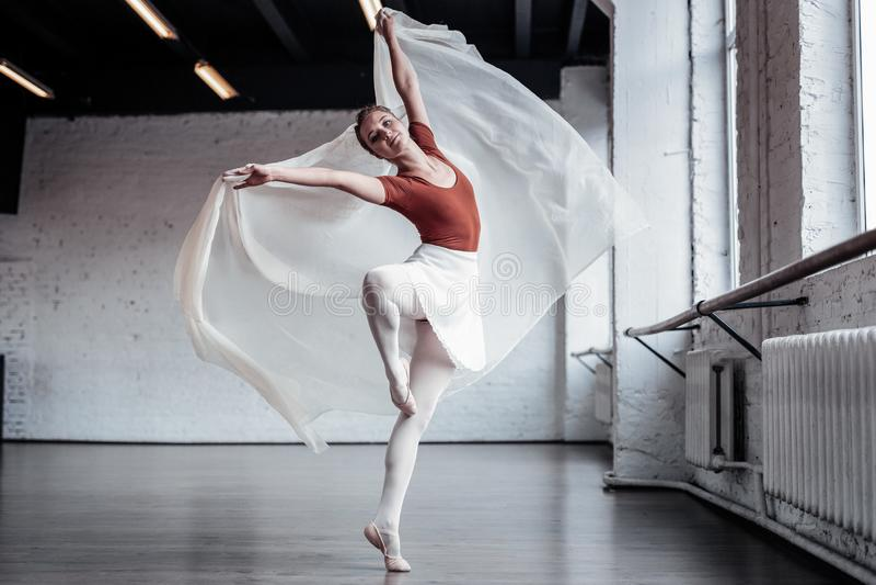 Mooie deskundige vrouwelijke balletdanser die pirouetten doen royalty-vrije stock afbeelding