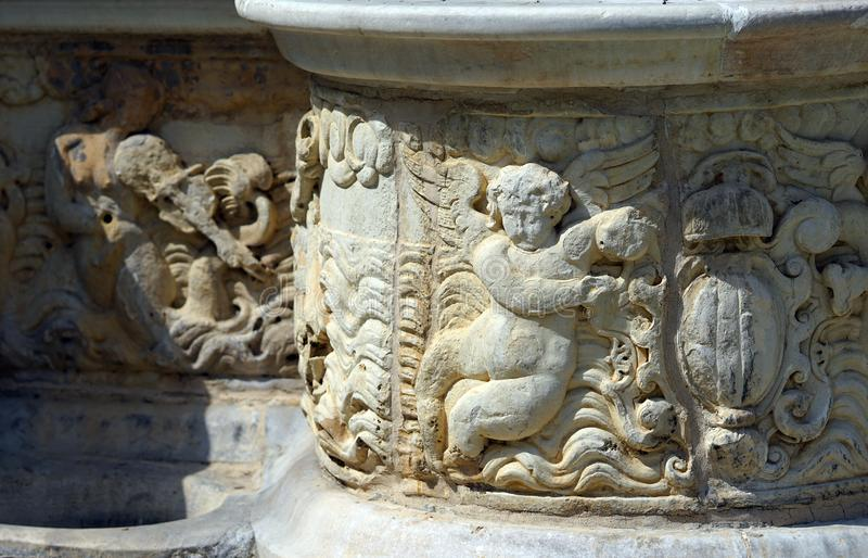Mooie details van de Morosini-Fontein in Heraklion stock foto's