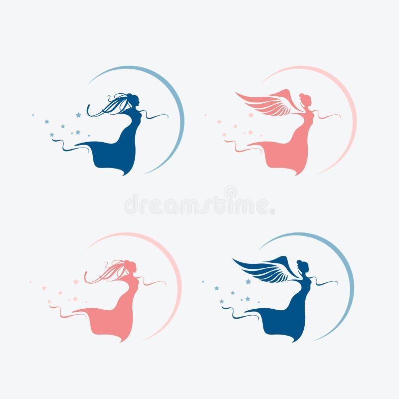 Mooie die feeën en engelensilhouetten, met vleugels, maan en sterren worden geplaatst vector illustratie