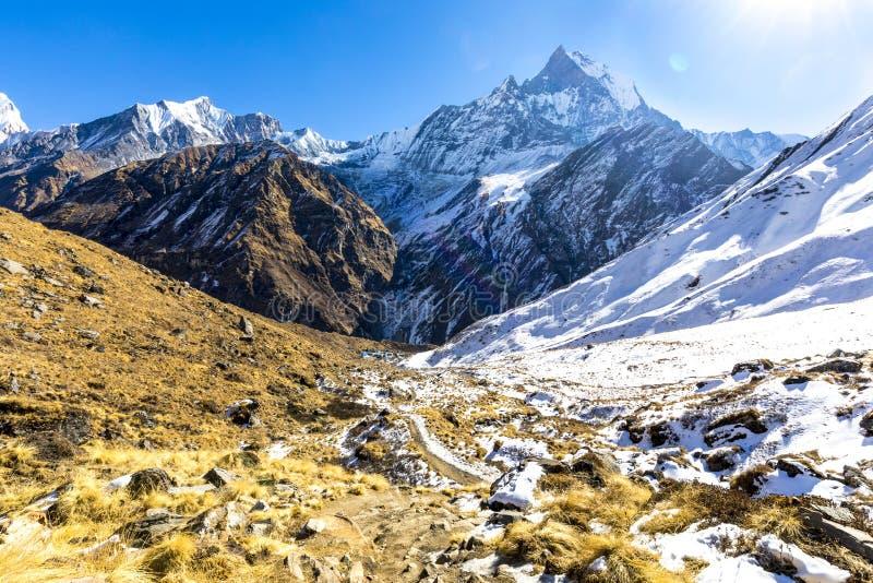 Mooie die Landschappen op de manier bij Annapurna-Basiskamp Nepal worden gezien stock afbeeldingen