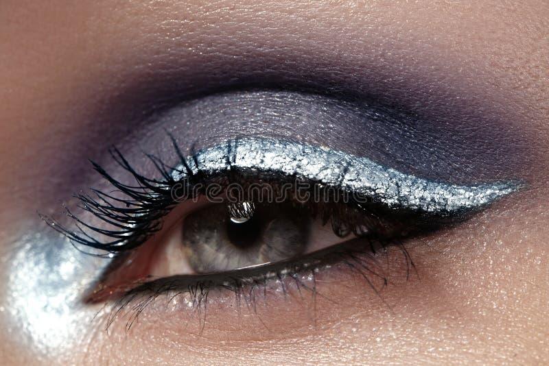 Mooie die macro van vrouwelijk oog met plechtige make-up wordt geschoten Perfecte vorm van wenkbrauwen, eyeliner en zilveren lijn stock foto