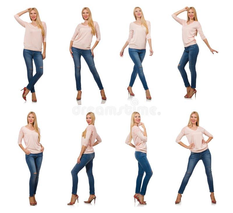 Mooie die vrouw in jeans op wit wordt geïsoleerd stock afbeeldingen