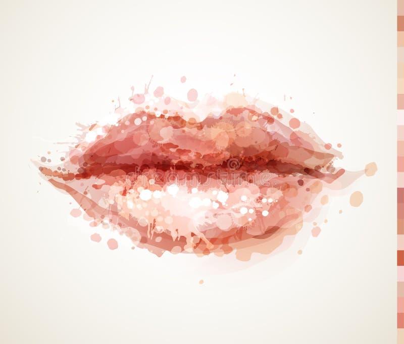 Mooie die vrouwenlippen door abstracte vlekken worden gevormd royalty-vrije illustratie