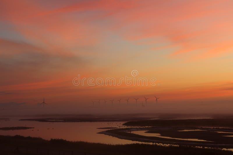 Mooie die zonsopgang in Nederland van hierboven met een hommel wordt geschoten royalty-vrije stock foto's