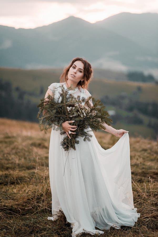 Mooie donkerbruine bruid in de lichte die kleding van het chiffonhuwelijk met parels wordt geborduurd die dichtbij de bergen stel stock foto