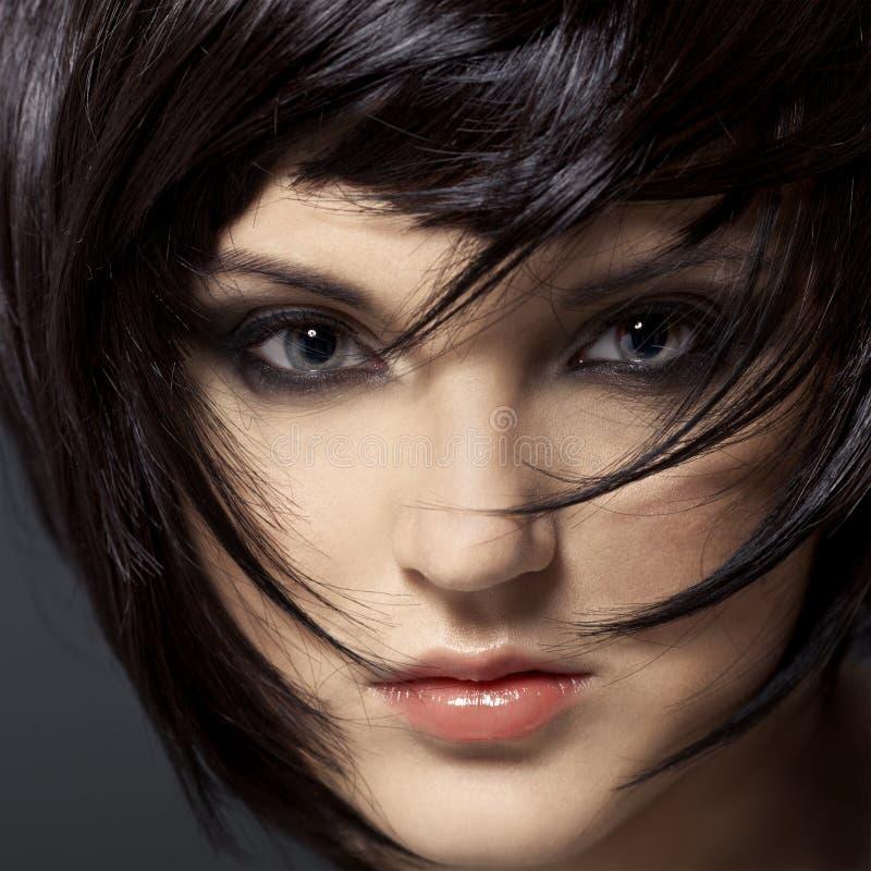 Mooie Donkerbruine Girl.Healthy Hair.Hairstyle. stock fotografie