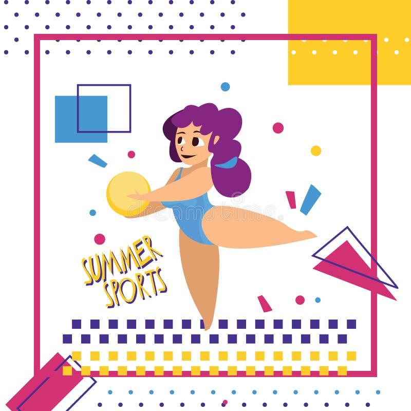Mooie donkerbruine vrouw in bikini springen gelukkig op het strand Y stock illustratie