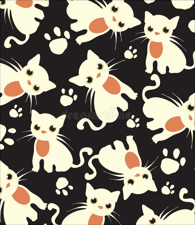 Mooie donkere achtergrond met wit kattenpatroon royalty-vrije stock afbeelding