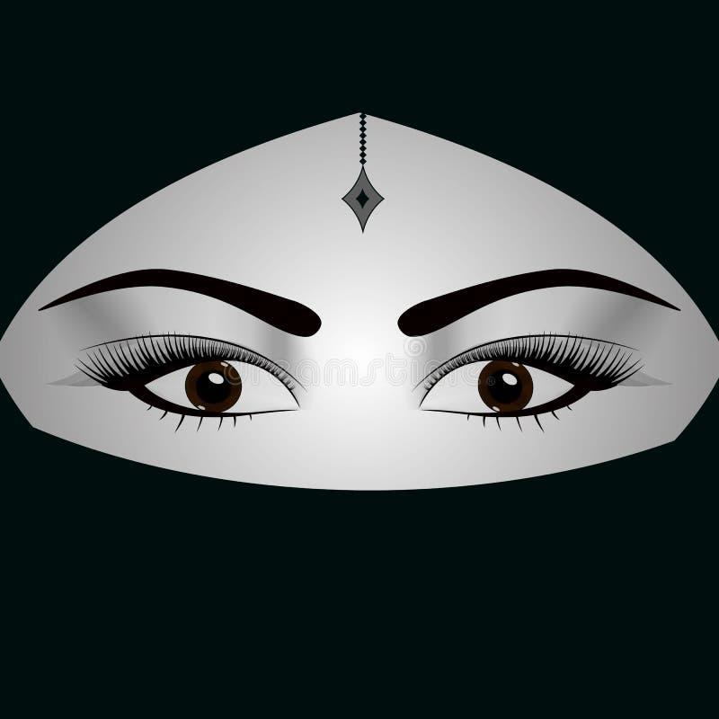 Mooie donkere eyed vrouw in traditionele niqabsluier van het Middenoosten stock illustratie