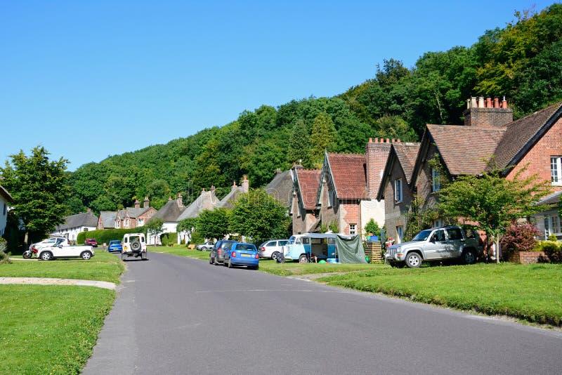 Mooie dorpsstraat, Milton Abbas royalty-vrije stock afbeelding
