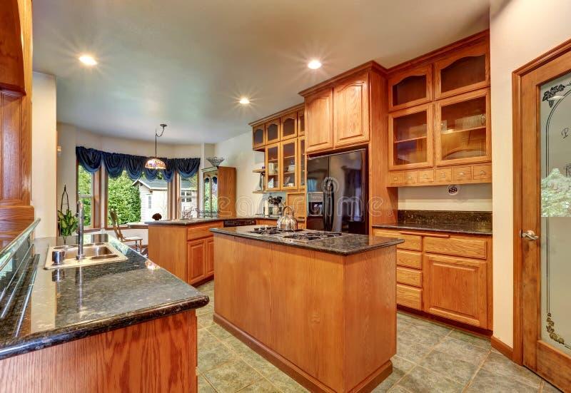 Mooie douane ontworpen keukenruimte met schitterend graniet royalty-vrije stock afbeelding