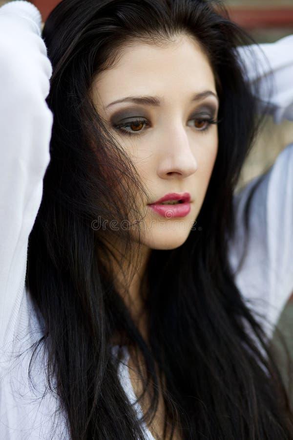 Mooie droevige vrouw royalty-vrije stock foto