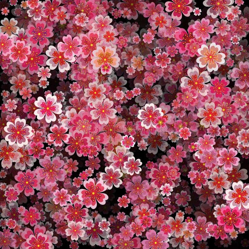 Mooie druk met het tot bloei komen donkere en lichtrose sakura flowe stock illustratie