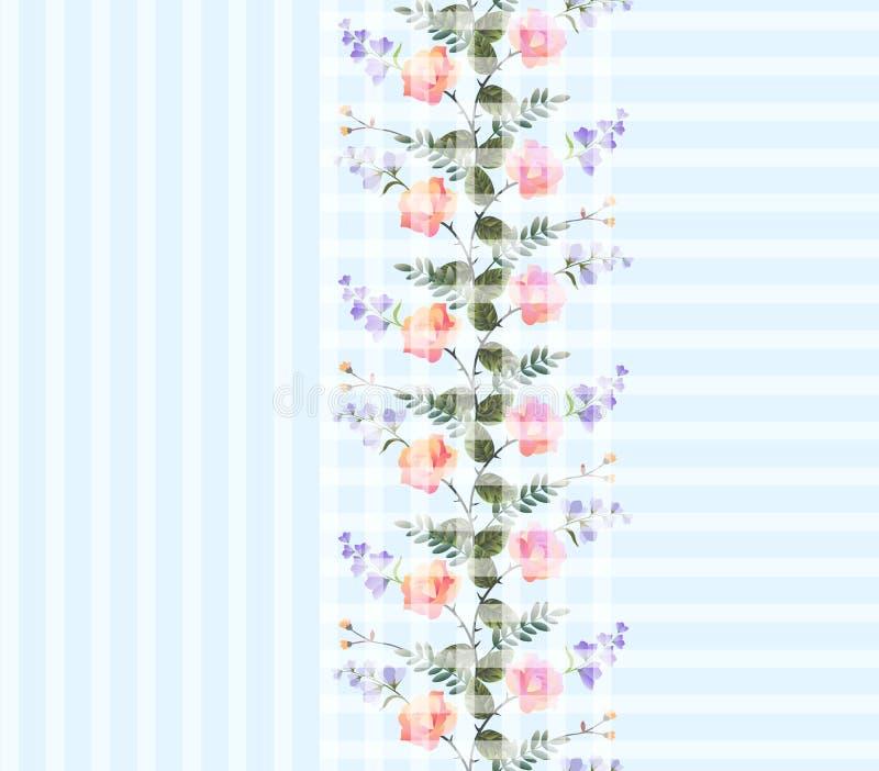 Mooie druk voor stof met romantische kroon van roze rozen en lilac klokbloemen op lichtblauwe geometrische achtergrond stock illustratie