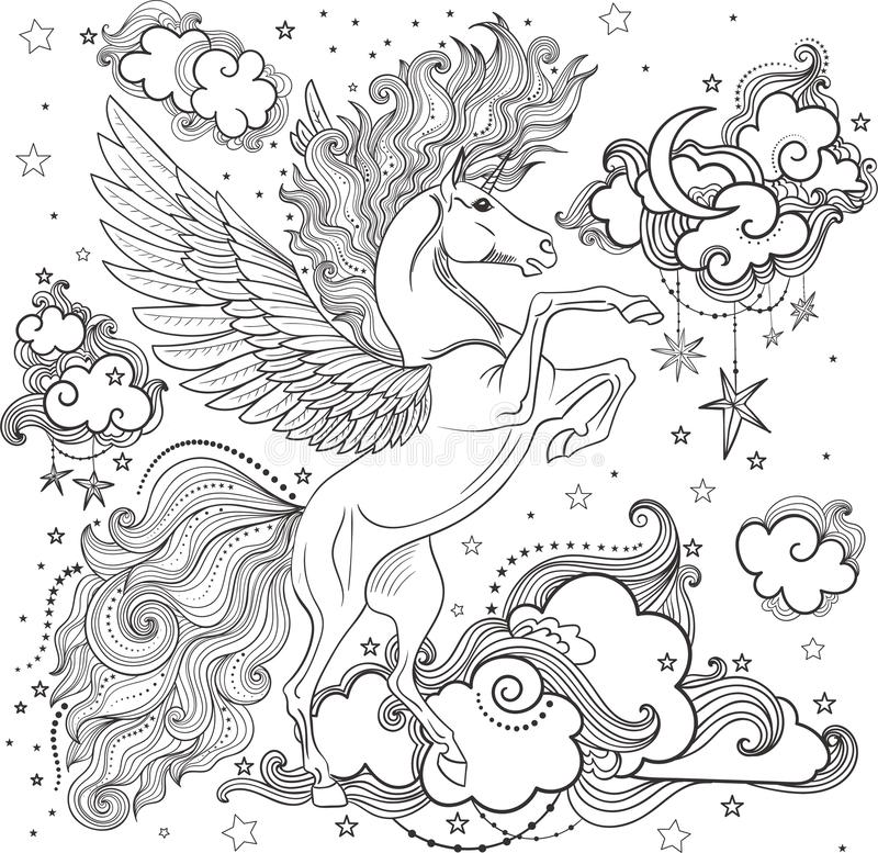Mooie eenhoorn onder de wolken vector illustratie