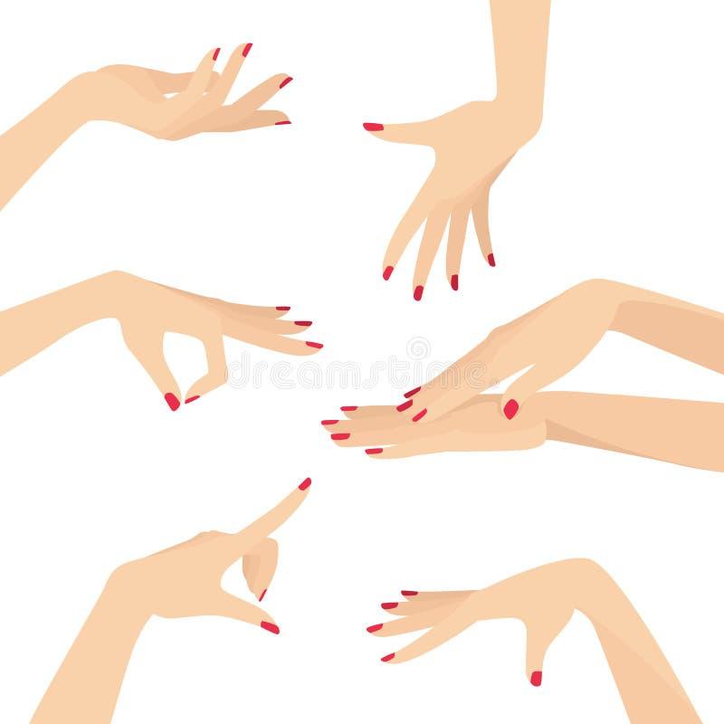 Mooie Elegante Bevallige Vrouwenhanden met de Rode Vector Vlakke die Illustratie van de Nagellakontwerpset op Wit wordt geïsoleer vector illustratie