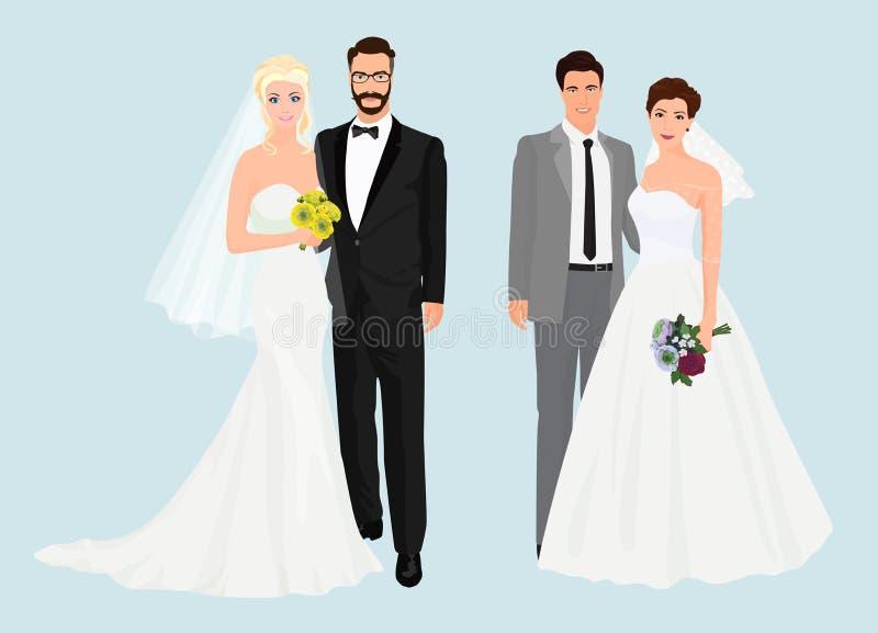 Mooie elegante de inzamelingsreeks van Huwelijksparen royalty-vrije illustratie