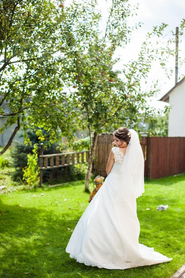 Mooie elegante gelukkige donkerbruine bruid op de achtergrond groen g stock foto's