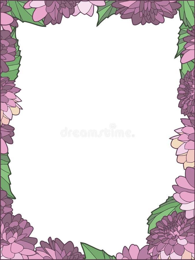 Mooie elegante stoffige roze Dahilia bloeit transparante vectorgrens vector illustratie